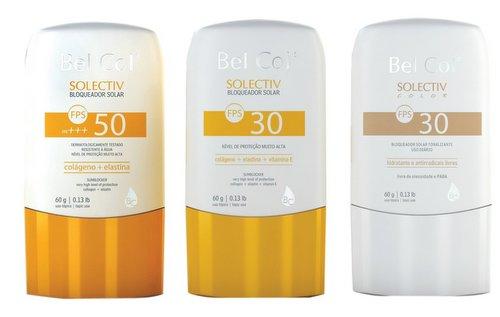 Solectiv da Bel Col - nas versões FPS 50, FPS 30 e FPS 30 tonalizante - é enriquecido com Colágeno, Elastina, Vitamina E . Protege e hidrata a pele e não é oleoso